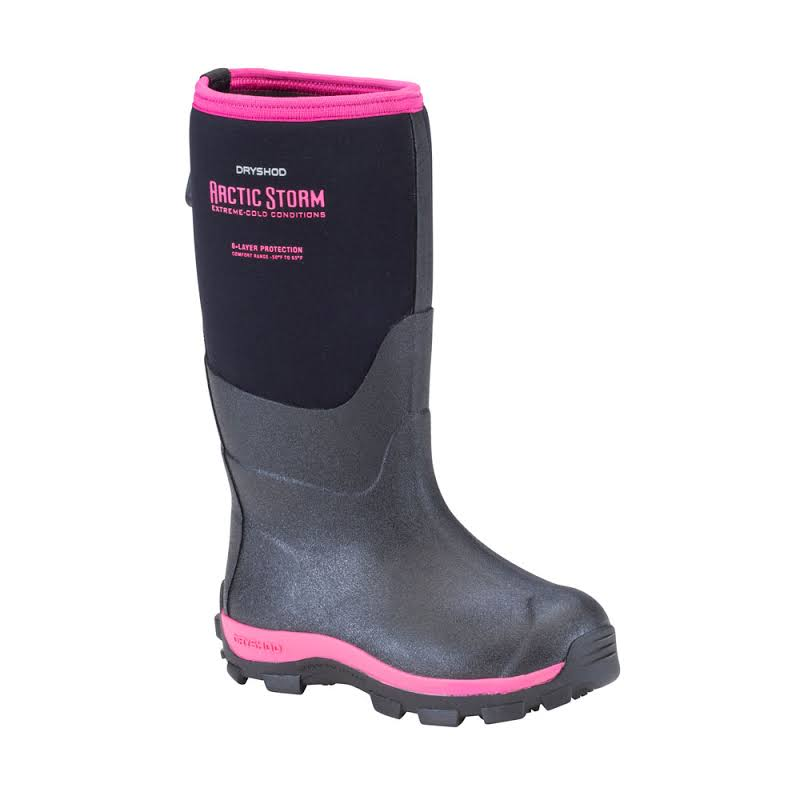 Dryshod Arctic Storm Kids Winter Boot Black/Pink 6 ARS-KD-PN-600