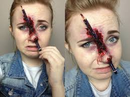 pencil through the nose spfx makeup tutorial creepy but awesome