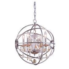 Polished Nickel Chandeliers Elegant Lighting Geneva 4 Light Polished Nickel Chandelier With