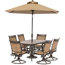 Swivel Dining Room Chairs Fontana 7 Piece Dining Set With Six Swivel Rocking Chairs A Tile