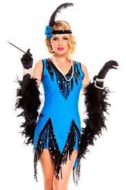 1920 Halloween Costumes 2pcs Blue 1920s Flapper Dress Stage Clothes Women