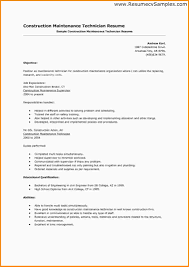 Resume Samples Construction by 6 Maintenance Technician Resume Mac Resume Template