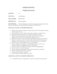Resume Retail Template Retail Store Job Description For Resume Resume For Your Job