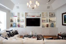 Wall Unit With Media Center Window Treatments Potted Plant Wood Trim - Family room wall units