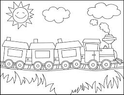 simple train drawing free printable train coloring pages for kids