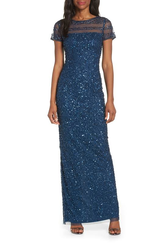Adrianna Papell Sequined Illusion Evening Dress Blue 4