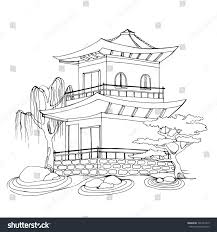 buddhist temple chinese house tibetan temple stock vector