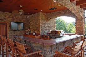 modern outdoor kitchen ideas light brown tile backsplash beige