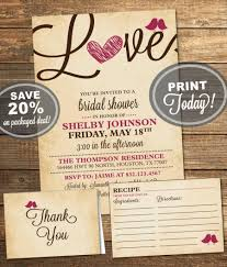 bridal shower package invitation recipe card thank you card