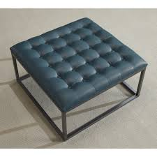 modern ottoman table healy teal leather tufted ottoman teal blue foam tufted