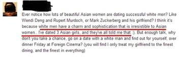 Ridiculously Offensive Things People Tell Asian Women On OkCupid View this image
