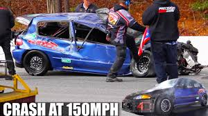 lexus twin turbo accident 1000hp civic crash u0026 flips over at 150mph turbo and stance