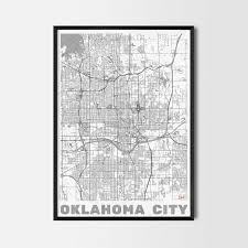 Oklahoma City Map Oklahoma Gift Map Art Prints And Posters Home Decor Gifts