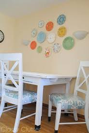 Plastic Seat Covers For Dining Room Chairs by Dining Set Makeover Plastic Plate Wall Classy Clutter