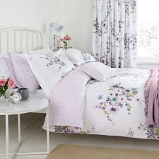 nancy floral flowers lilac pink green natural duvet cover quilt