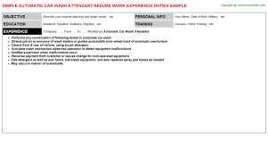 Flight Attendant Job Description Resume by Automatic Car Wash Attendant Job Title Docs