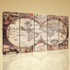 World Map Canvas by Large Wall Art Print On Canvas World Map Retro Global Atlas Home Decor