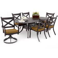 Swivel Dining Room Chairs 7 Piece Patio Dining Set With Swivel Chairs Patio Decoration