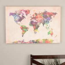 World Map Canvas by Michael Tompsett U0027urban Watercolor World Map U0027 Canvas Art