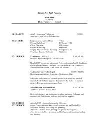 Computer Technician Resume Sample by Vet Tech Resumes With Veterinary Technician Resume Sample Job