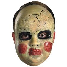 smeary baby doll face mask costume accessory creepy scary