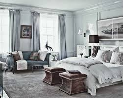 Bedroom Ideas With Blue And Brown White Bedroom Wall With Grey Curtains And White Wall Lamp Combined