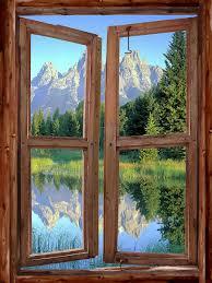 Golf Murals by Mountain Cabin Window Wall Mural