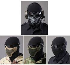 ghost face mask military tactical paintball strike steel half face mask mesh face skull