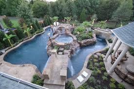 Garden And Patio Top View Large Backyard Lazy River Pool Design - Backyard river design