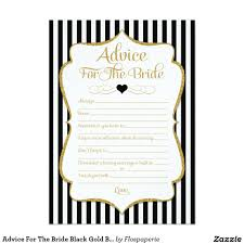 Kitchen Tea Game Ideas advice for the bride black gold bridal shower game card gold