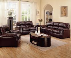 appealing living room furniture sets with dark brown wooden sofa