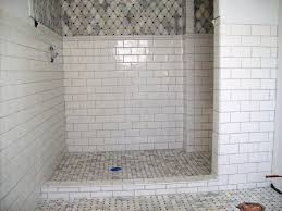 Cream Subway Tile Backsplash by Ceramic Marble Subway Tile Shower Combined With Bathroom Tile For