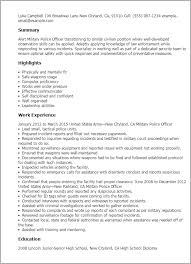 Ex Military Resume Examples by Professional Military Police Officer Templates To Showcase Your