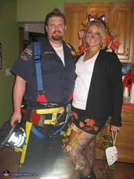 Halloween Costumes Firefighter Rescued Cat U0026 Firefighter Couple Halloween Costume