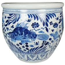 blue and white chinese fish bowl bowls porcelain and modern