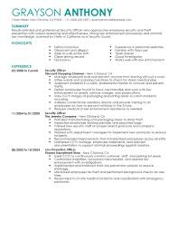 Officer Resume Best Security Officers Resume Example Livecareer