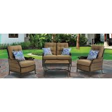 Deep Seat Patio Chair Cushions Hanover Hudson Square 4 Piece Deep Seating Patio Lounge Set With