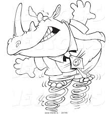 super sonic coloring pages vector of a cartoon rhino jumping on springs coloring page