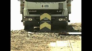 crash test daf lf 45 vs road blocker astm iwa14 1 m40 youtube