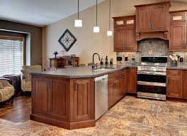 Kitchen Cabinet Base Trim Minnesota Peninsula Kitchen Has Cherry Cabinets In A Traditional