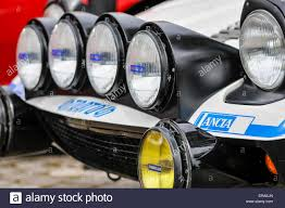 lights on the front of a rally prepared lancia stratos stock photo