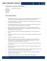 Executive Assistant Job Resume by Administrative Assistant Responsibilities Template