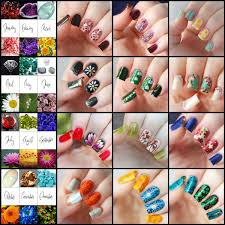 Flowers For Each Month - nail art for every month of the year featuring birthstones and
