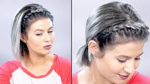 how to lace braid headband on short hair tutorial milabu youtube