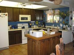 Blue Backsplash Kitchen Kitchen Remodel With Blue Backsplash And Cool Ceiling Fan Also