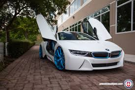 Bmw I8 White - white bmw i8 with hre p101 in frozen ilectric blue hre