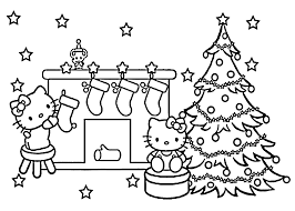 hello kitty christmas coloring pages eson me