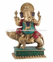 ganesha sitting on mouse statue indian deity brass idol figurine