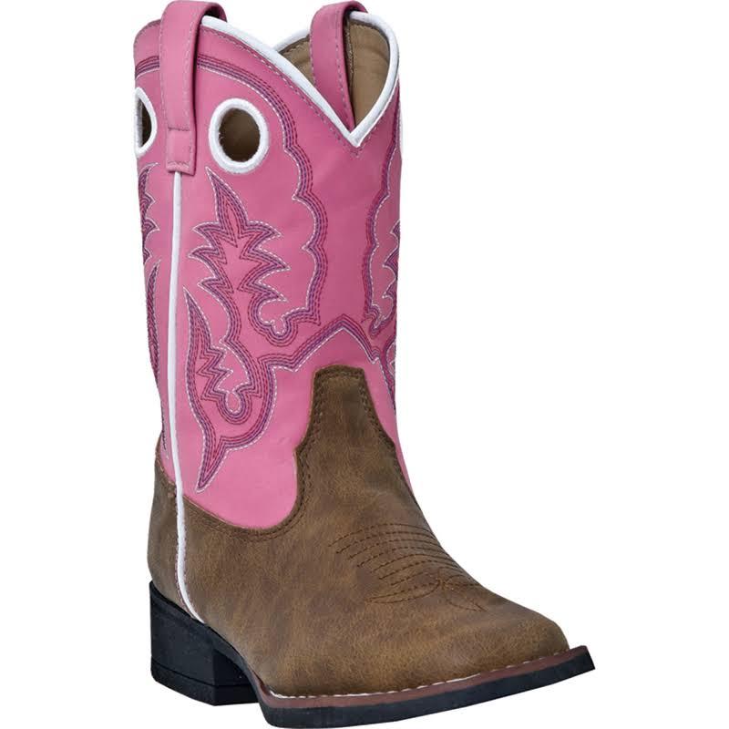 Laredo Mahaska Childrens Tan Distressed Ress Square Toe Western Cowboy Boot 11 M Tan Pink