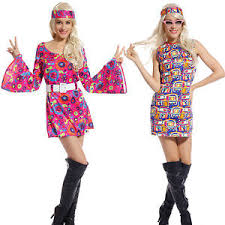 Flower Power Halloween Costume Adulto 60s 70s Groovy Dama Hippy Flower Power Mujer Damas Fancy
